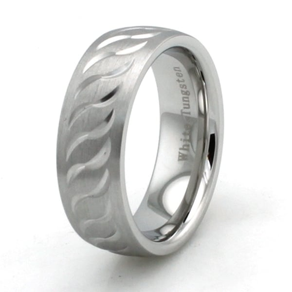 Hand Carved White Tungsten Ring with Brush Finish and Wave Pattern