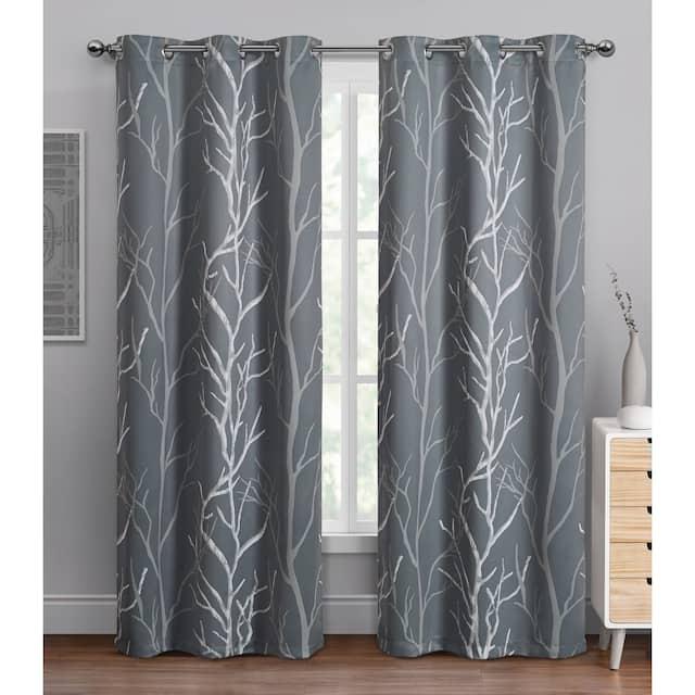 "VCNY Home Kingdom Branch Blackout Curtain Panel - 42"" x 84"" - Grey"