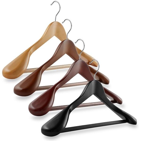 6-Pack Wide Shoulder Wooden Suit Hangers by Casafield. Opens flyout.