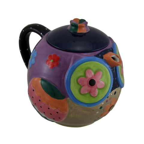 Brightly Colored Whimsical Ceramic Owl Teapot 33 Oz - 6.25 X 7.5 X 5.5 inches
