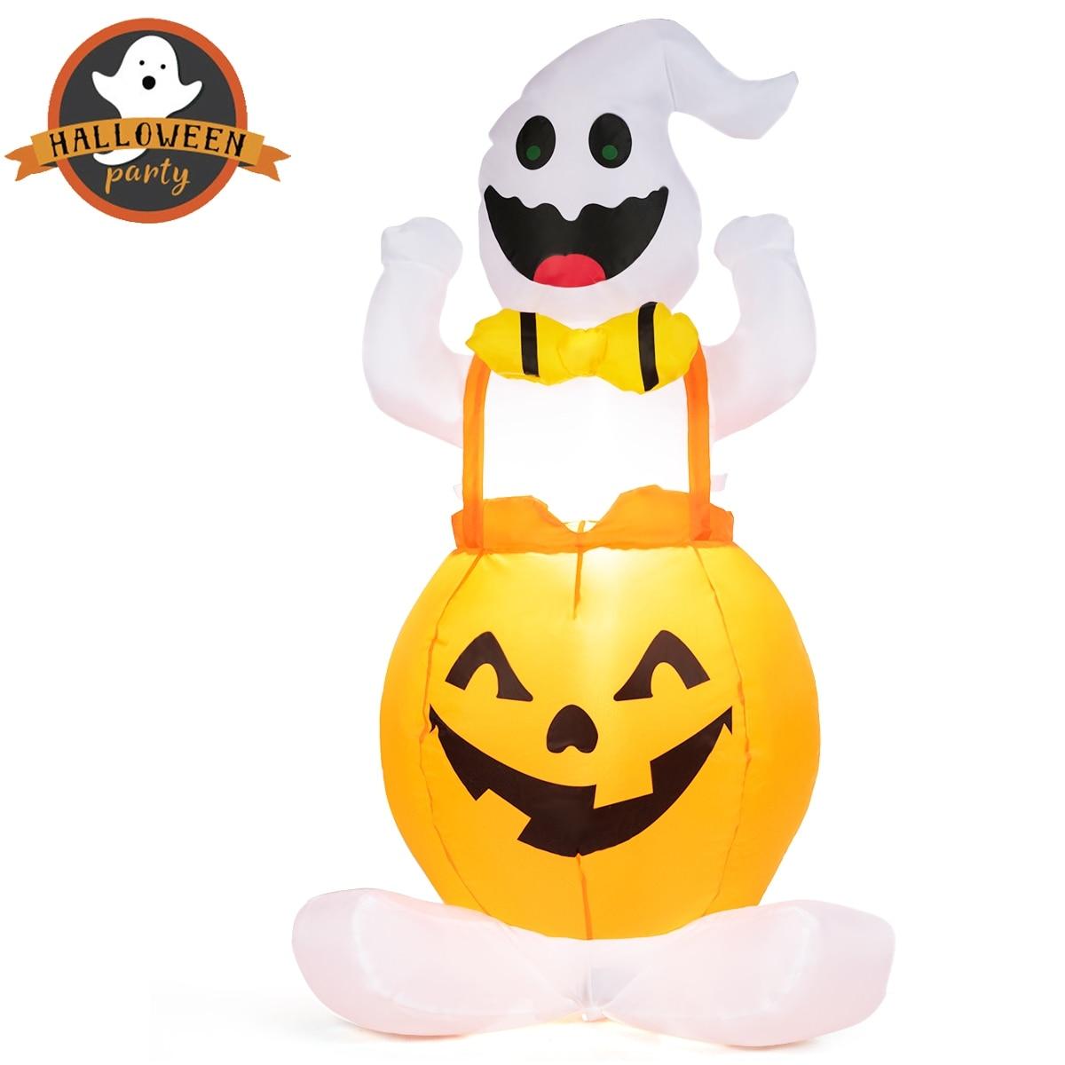 4 5 Halloween Blow Up Inflatable Ghost in Pumpkin W Light Outdoor Decoration