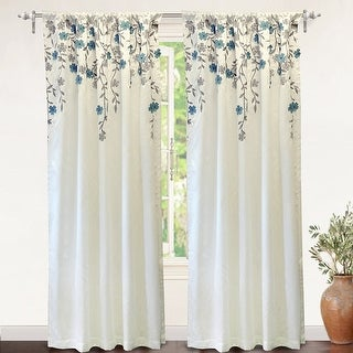 Link to Porch & Den Oneida Floral Embroidered Faux Silk Window Curtain Panel Similar Items in Window Treatments