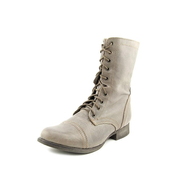 Steve Madden Troopa Women Round Toe Leather Gray Boot