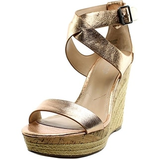 Charles By Charles David Adament Women Open Toe Leather Bronze Wedge Sandal