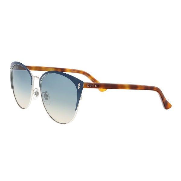 98bfa392fad Shop Gucci GG0197SK-004 Blue Amber Cat Eye Sunglasses - 58-16-150 ...