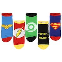 DC Comics Justice League Logos Adult 5 Pack Superhero Socks - Ankle (9-11)