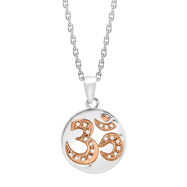 'Om' Symbol Pendant with Diamonds in Sterling Silver & 14K Rose Gold