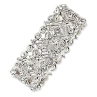 Silvertone Clear Crystals Stretch Bracelet - 7in