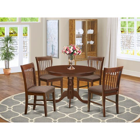 Kitchen Dining Room Set Includes Modern Kitchen Table and Linen Fabric Chairs - Mahogany Finish (Pieces Option)