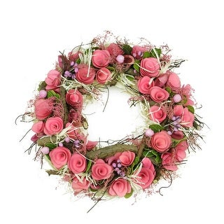 """12.5"""" Pink Flowers and Berries, Green Leaves and Twig Artificial Spring Floral Wreath"""