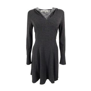Studio M Women's Long Sleeve Hooded Dress - Heather Charcoal