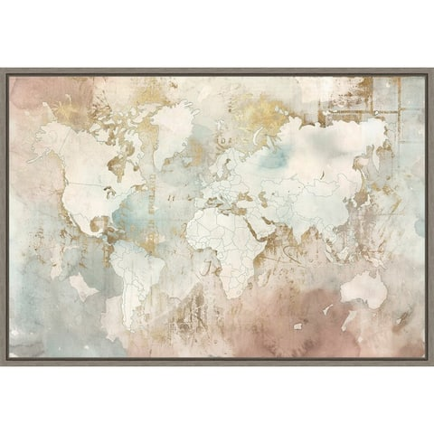Blushing World Map by Roozbeh Framed Canvas Art