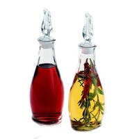 Palais Glassware Oil and Vinegar Clear Glass Dispenser Cruet Bottle, Set of 2 (Clear Cover)