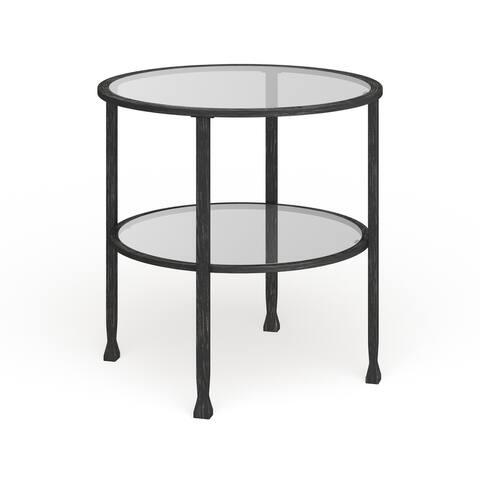 Carbon Loft Glenn Black Metal/ Glass Round End Table