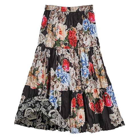 5066ba165b Catalog Classics Women's Reversible Broomstick Skirt - Black Floral/Gray  Paisley