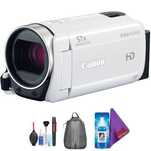 Canon VIXIA HF R600 Full HD Camcorder (White) + Pro Accessories Bundle