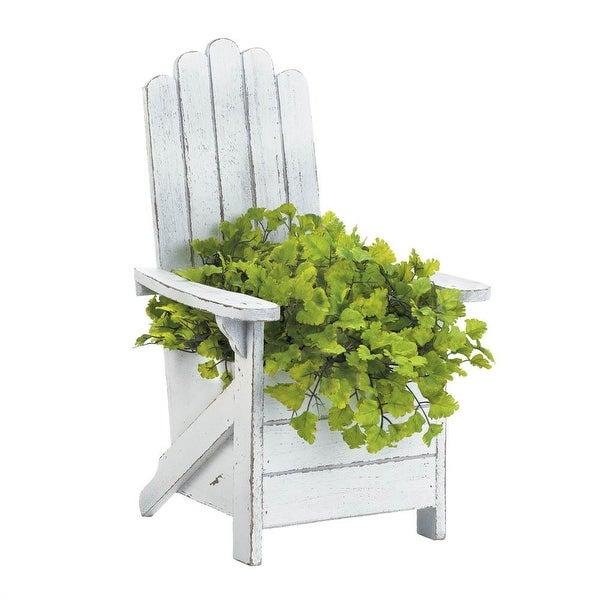 Retro White Adirondack Chair Planter