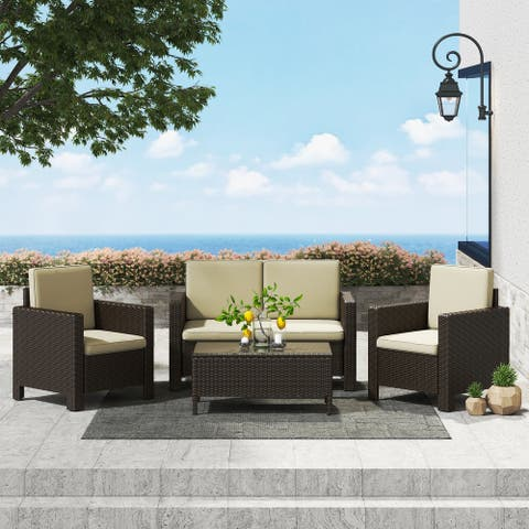 Corvus Burgundy 4-piece Outdoor Wicker Chat Set with Cushions