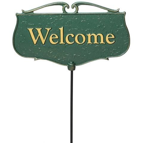 """Whitehall """"Welcome"""" Garden Poem Yard Sign (Green/Gold)"""