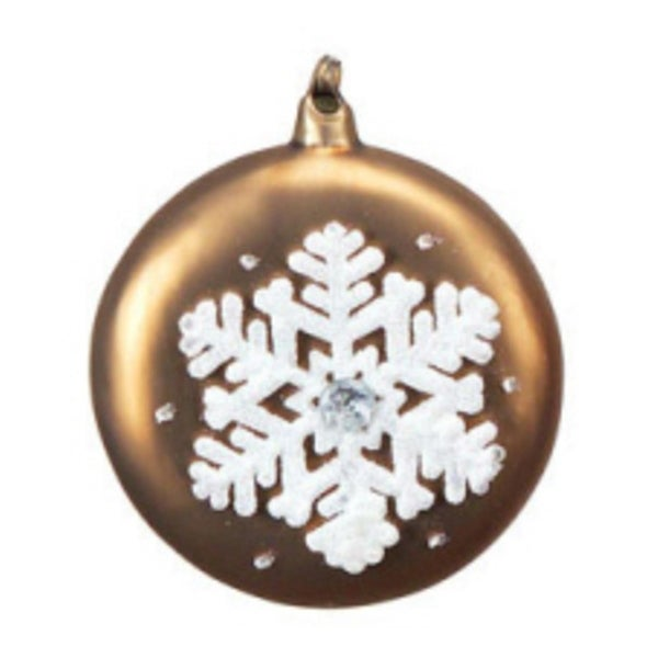 """4.5"""" Mocha Brown with White Glitter Snowflake Glass Christmas Disk Ornament"""