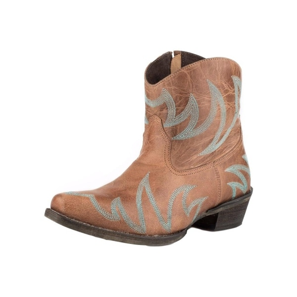 Roper Western Boots Womens Phoenix Leather Emb Tan
