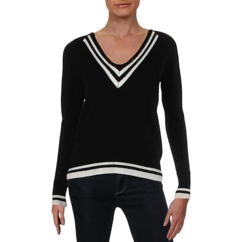 Aqua Womens Pullover Sweater Cashmere Varsity Stripe