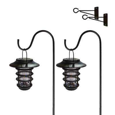 Classy Caps Black Nottingham Solar Hanging Coach Light (Set of 2)