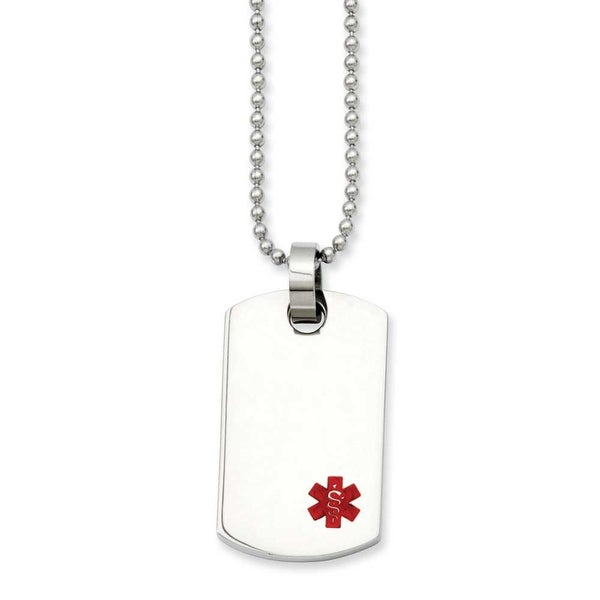 Stainless Steel Small Dogtag Medical Pendant 24in Necklace (2 mm) - 24 in