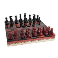 Black & Red Alabaster Inlaid Chest Chess Set - Multicolored