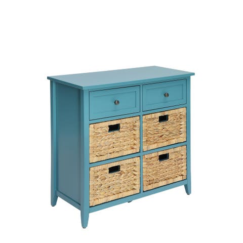 Pop of Color Teal Accent Chest with Storage