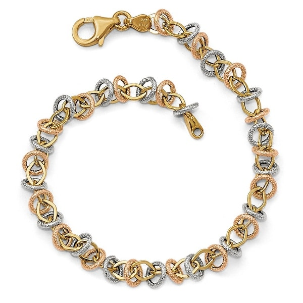 Italian 14k Tri-Color Gold Polished & Textured Fancy Link Bracelet - 7.5 inches