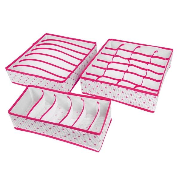 Non Woven Fabric Dot Print Foldable Socks Underwear Storage Box Fuchsia 3  In 1