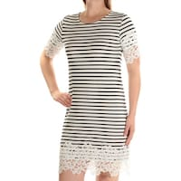 f5ffa47e3fe95 TOMMY HILFIGER Womens White Lace Striped Short Sleeve Jewel Neck Above The Knee  Shift Dress Size