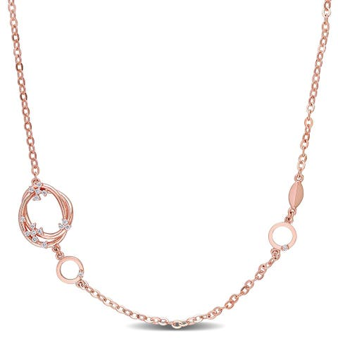 Miadora 18k Rose Gold 1/4ct TDW Diamond Open Circle Station Link Necklace