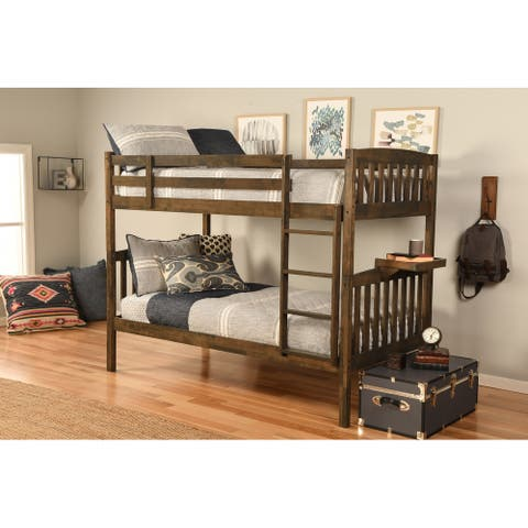 Somette Claire Twin Bunk Bed in Rustic Walnut Finish with Tray and Storage and Trundle Options