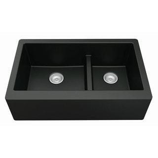 Karran Farmhouse/Apron-Front Quartz Double Bowl Kitchen Sink