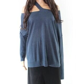 Melrose & Market Blue Womens Size Large L Off Shoulder Sweater