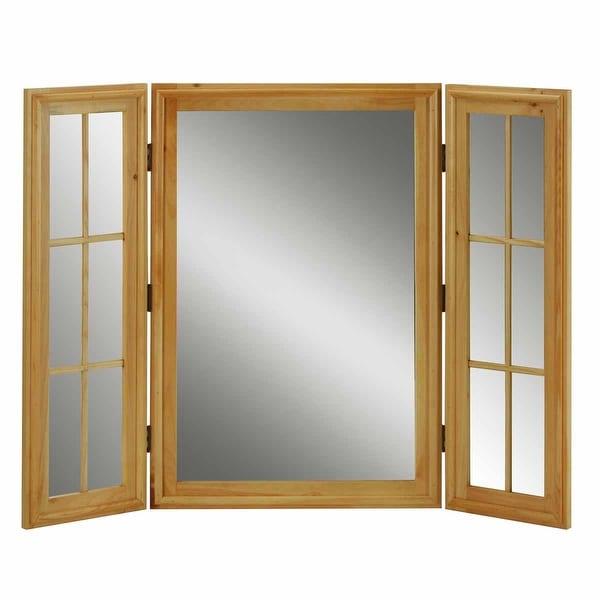 Vintage Vanity Mirror Triple Windowpane Country Pine