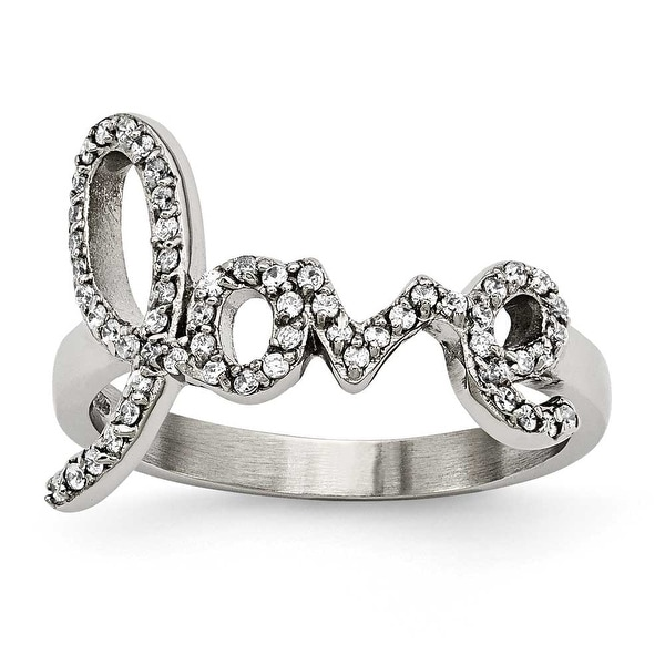 "Chisel Stainless Steel Polished ""Love"" with CZs Ring"