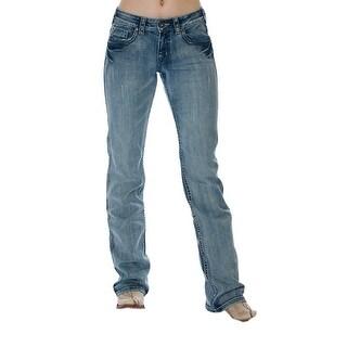 Cowgirl Tuff Western Denim Jeans Women Double Lucky Medium Wash JLKYST (Option: 36 Inch)