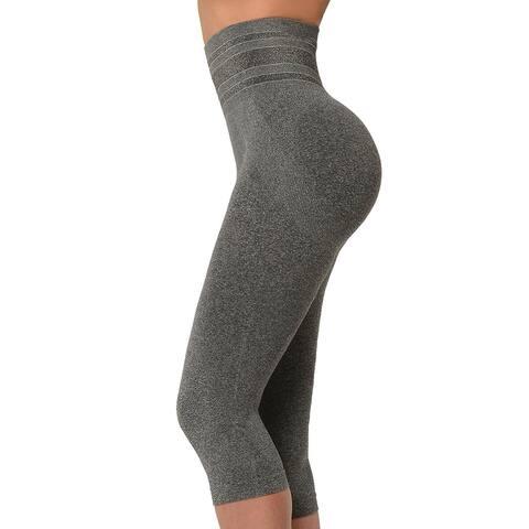 SANKOM Patent Capri Leggings Tummy Control Yoga Gym Slimming-L/XL Gray - L/XL