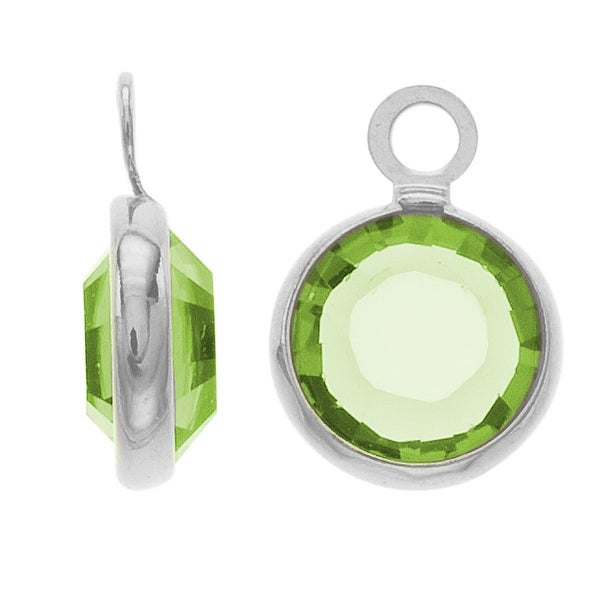SWAROVSKI ELEMENTS Rhodium Plated Channel Crystal Charm Peridot 10mm (8)