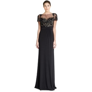 David Meister Beaded Bodice Short Sleeve Column Evening Gown Dress