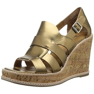 Bass Womens Taylor Leather Cork Wedge Sandals