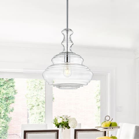 """Bettina 13.37"""" Glass/Metal LED Pendant, Chrome/Clear by JONATHAN Y"""