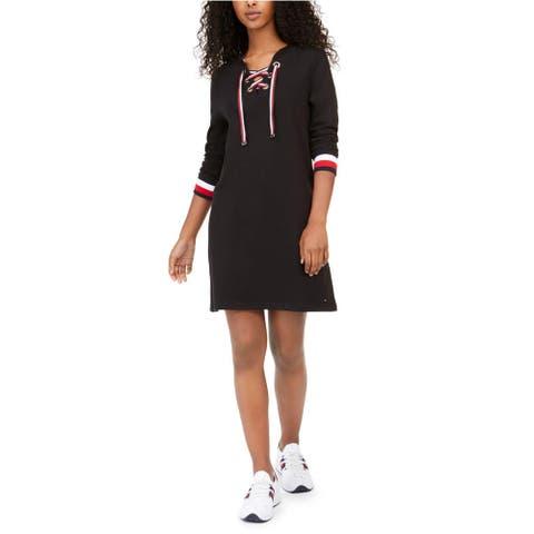 Tommy Hilfiger Women's Lace-Up Hoodie Sweatshirt Dress Black Size Small