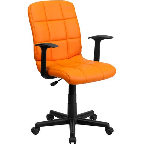 Aberdeen Mid-Back Orange Quilted Vinyl Swivel Home/Office Task Chair w/Arms