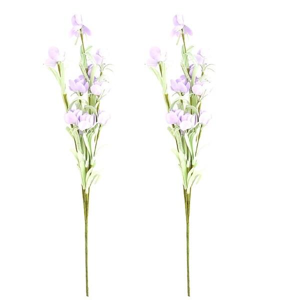 Foam DIY Craft Artificial Rose Bouquet Flower Light Purple 19.5 Inch Height 2pcs