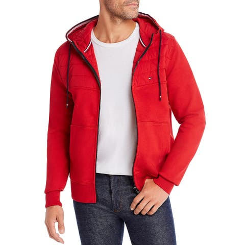 Tommy Hilfiger Mens Hoodie Long Sleeve Mixed Media - Red - XXL