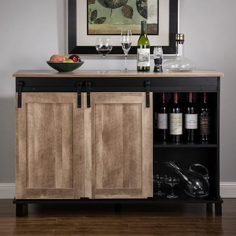 """Glitzhome 47.20""""L Modern Industrial Wine Cabinet Buffet Sideboard with Sliding Doors"""
